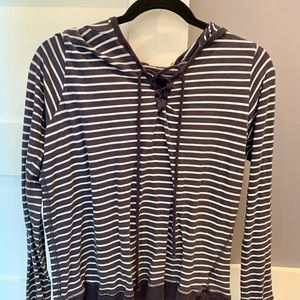 Striped Lace up hoodie from Anthropologie